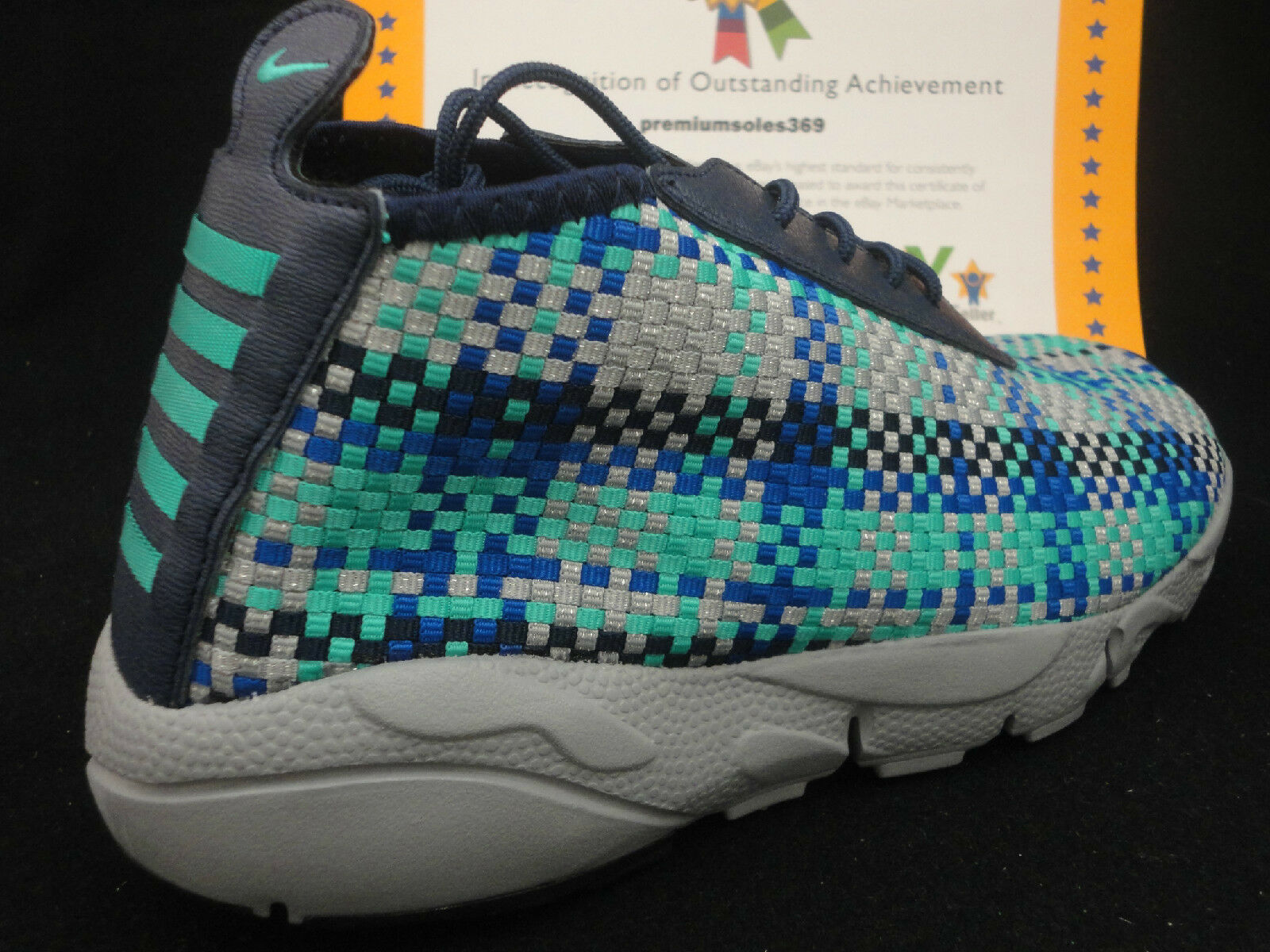 Nike Air Footscape Desert Chukka, Navy / Hyper Jade / Silver, Woven, Size 8