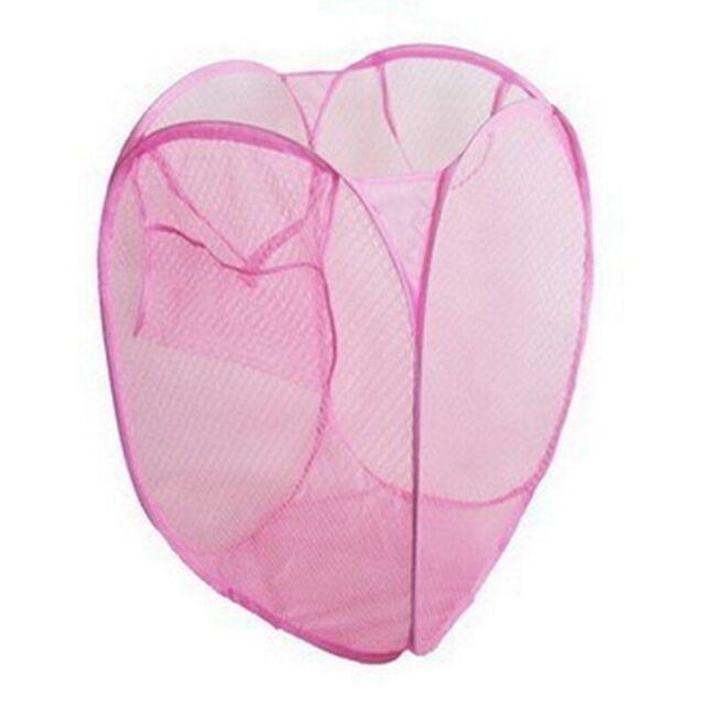 Mesh Cloth Laundry Washing Bag Folding Basket Bin Home Organizer Storage LpRNc