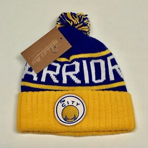 70206b89062 GOLDEN STATE WARRIORS KNIT BEANIE HAT NBA CUFFED MITCHELL AND NESS ...