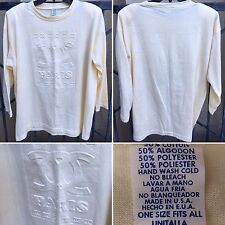 Vintage COC PARIS Long Sleeve T-Shirt Made In USA OSFA 80s Pastel Yellow