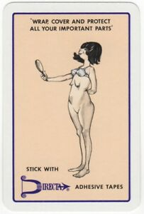 Playing-Cards-1-Single-Card-Old-DIRECTA-TAPE-Advertising-Art-Comic-Lady-Girl-2