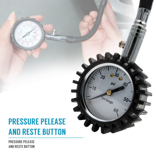 Premium Heavy Duty Tyre Pressure Gauge with bleeder vlave 0-60psi USA