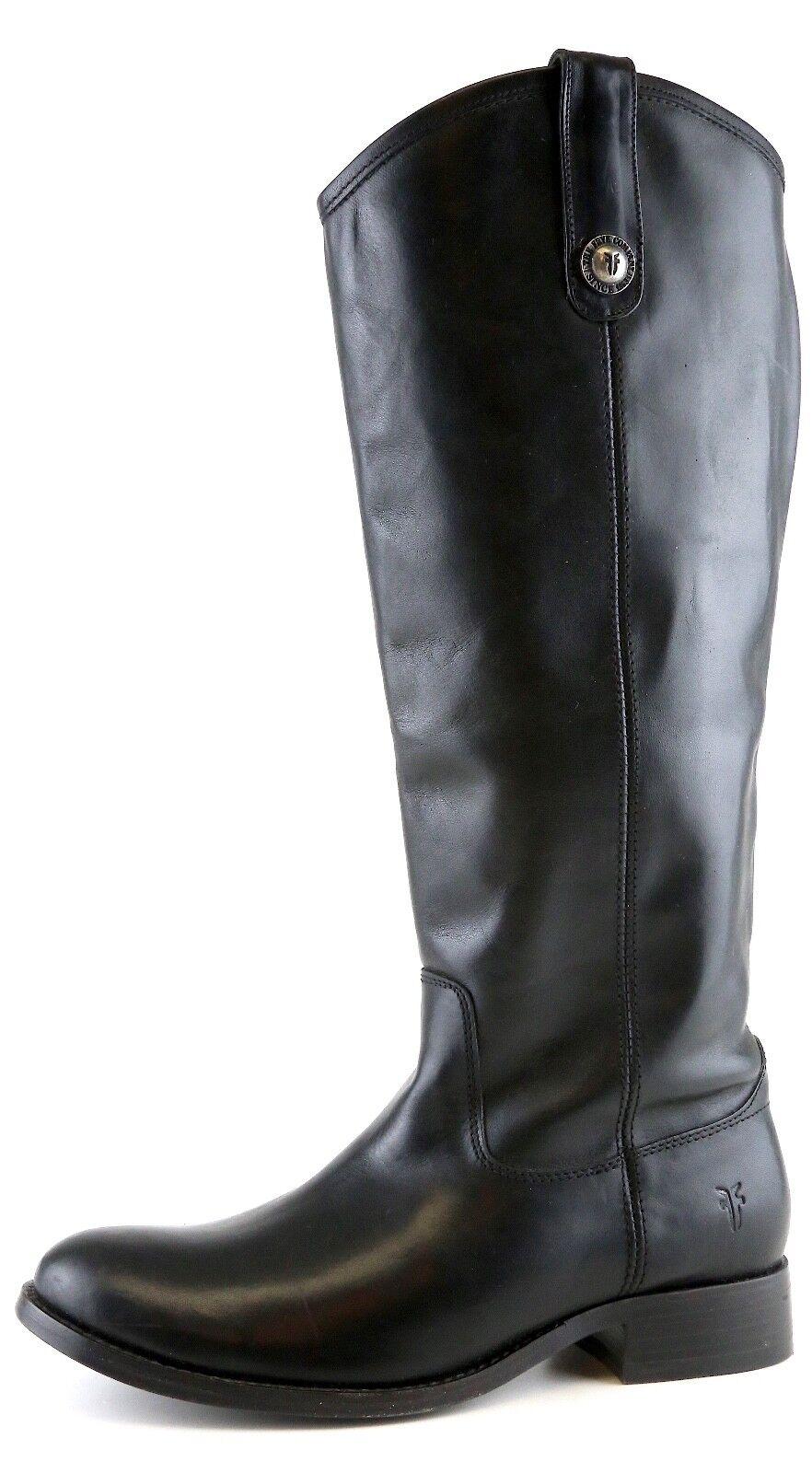 FRYE Women's Black Melissa Button Leather Riding Boots 6176 Sz 6 M