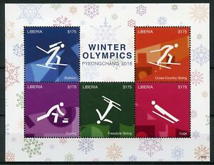 Liberia 2018 Neuf Sans Charnière Jeux Olympiques D'hiver De Pyeongchang 5 V M/s I Biathlon Ski Timbres-afficher Le Titre D'origine Couleurs Harmonieuses