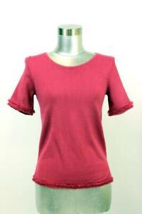 ANN-TAYLOR-Pink-Fringe-Trim-Short-Sleeve-Knit-Top-Womens-Scoop-Neck-T-Shirt-XXS