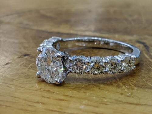 Details about  /Classic Solitaire Wedding Engagement Ring 2.3 Ct Round Diamond 14K White Gold GP