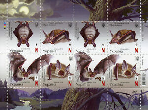 Ukraine-2016-MNH-Bechstein-039-s-Bat-WWF-8v-M-S-Bats-Wild-Animals-Stamps