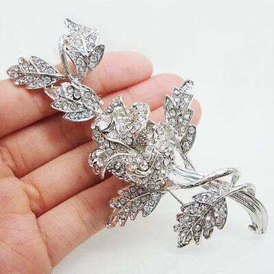 Silver Tone Rose Flower Bride Wedding Brooch Pin Clear Rhinestone Crystal