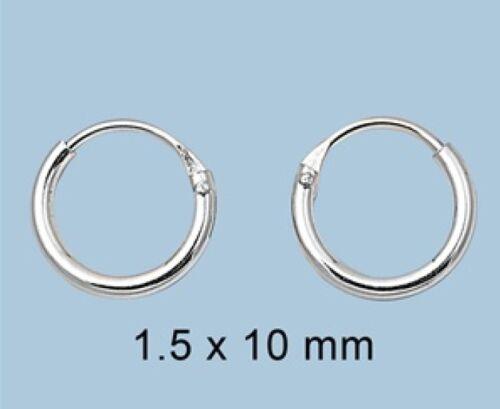 3 Paires Set Petit continu Boucles d/'oreilles Créoles argent 925 BEST DEAL Bijoux 1.5x10mm