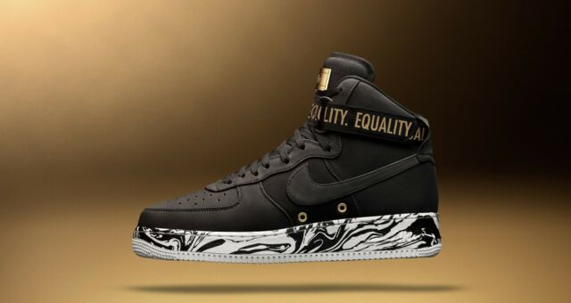 emoción voltaje canta  Nike Air Force 1 Hi BHM QS 10 Black History Month Gold Kaepernick Equality  Sz 10 for sale online | eBay