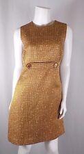 Tory Burch Gold Brown White A-Line Sheath Dress Cotton Wool Silk Sz 10 GUC