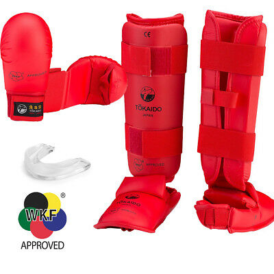 New Full Red /& Blue Tokaido Karate WKF Competition Sparring Gear Set w// Red Bag