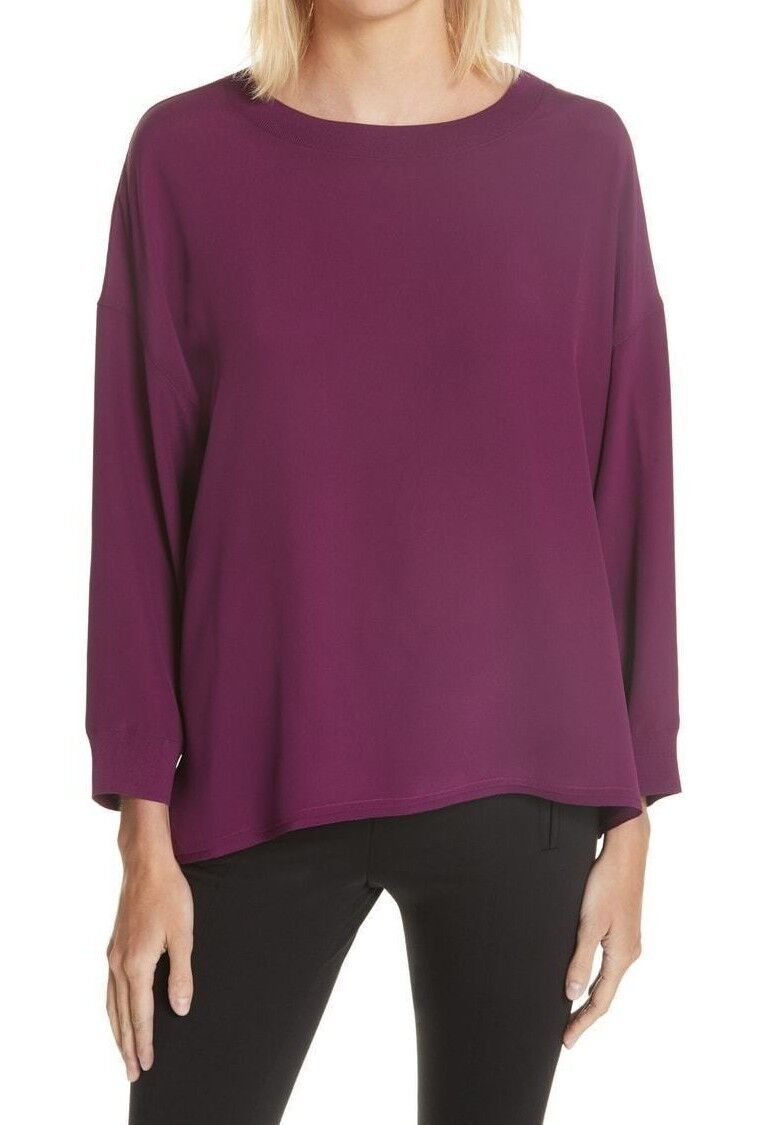NWT  Vince Silk Rib Trim Blouse in Mulberry; L