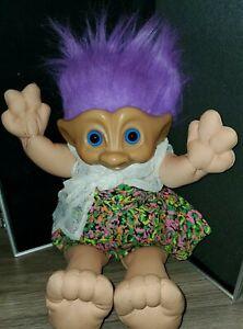 Vintage Treasure Troll Doll Wishstone Blue Belly Gem 1991