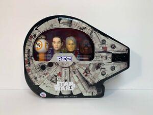 Star Wars Pez Tin Collectible BB 8 Rey Hans Solo Chewbacca Millennium Falcon NEW