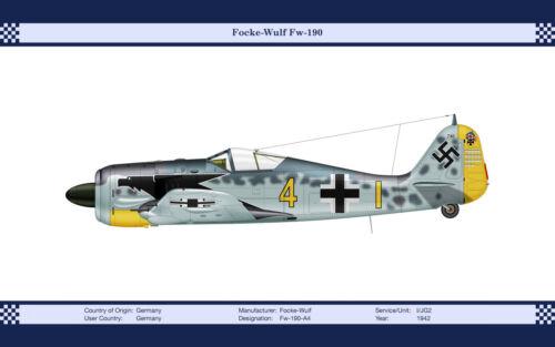 Focke-Wulf Fw-190-A4 Vintage Aircraft Art Print 13 x 19