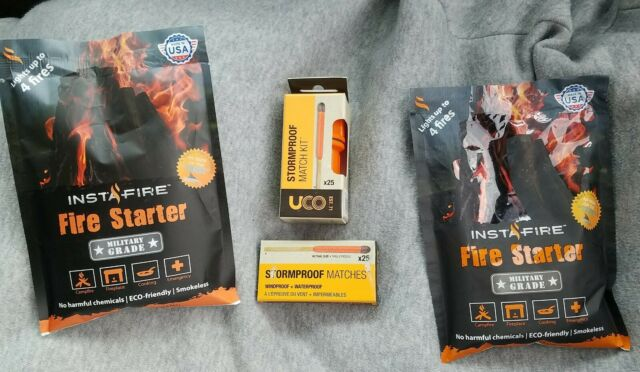 50 UCO Stormproof Match Kit with Waterproof Case + Military Grade Insta Fire 2pk