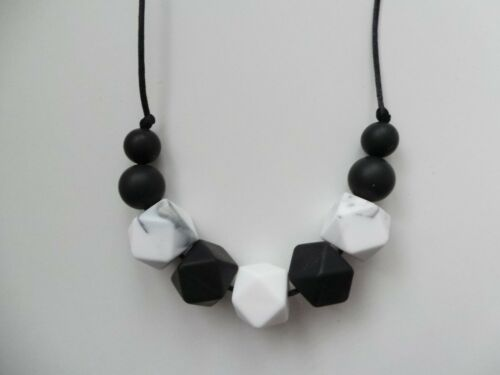 Silicone Teething Necklace Nursing Breastfeeding Sensory BPA Free Monochrome