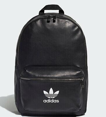 Adidas Originals classic trefoil Backpack Rucksack Bag Black PU mens womens | eBay