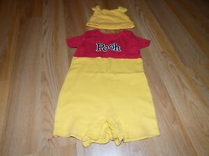 73408647fc30 Details about Size 9 Months Disney Store Winnie the Pooh Bear One-Piece    Hat Outfit Costume