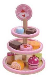 Wooden-Dessert-Stand-High-Tea-Tooky-Toy-Pink-11-Pieces-Kitchen-Food