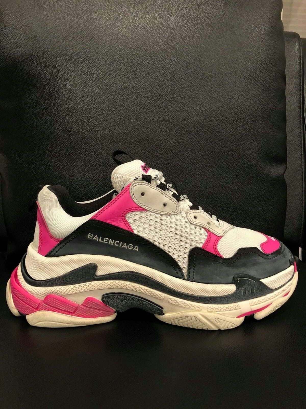 NIB Balenciaga Triple S Sneaker Womens Black Pink Leather Speed Flat Trainers 42