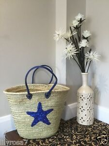 New-Straw-Wicker-Basket-Blue-Star-Fish-Beach-Holiday-Cruise-Pool-Bag-LilyRosa