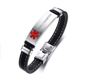Medical Alert Id Bracelet Black Leather