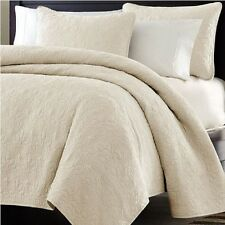 Bed In A Bag Oversized 3pc Quilted Coverlet Set, Ivory, KING Size Bed