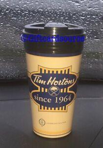 TIM HORTONS BUFFALO SABRES HARBORCENTER PLASTIC 14oz TRAVEL CUP HORTON'S NEW HTF