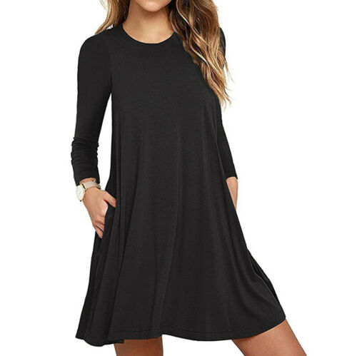 Woman Fall Loose Solid Color Crew Neck Long Sleeve Casual Formal Midi Dress