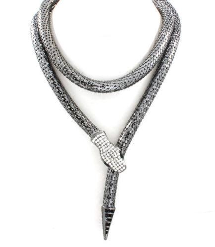 New Fashion Chunky strass yeux cristal tour de cou gris serpent Collier collier