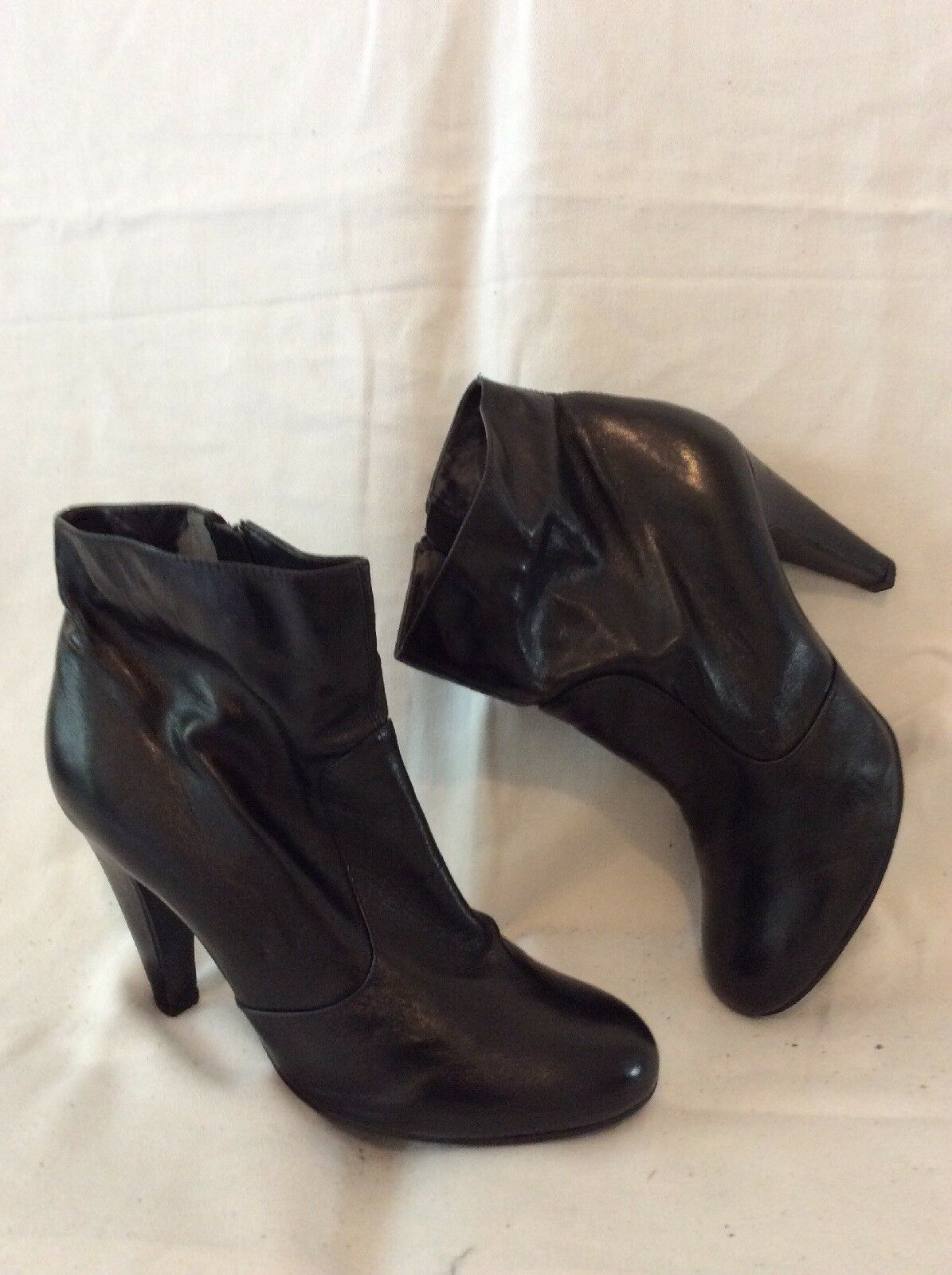 Oasis Black Ankle Leather Boots Size 39