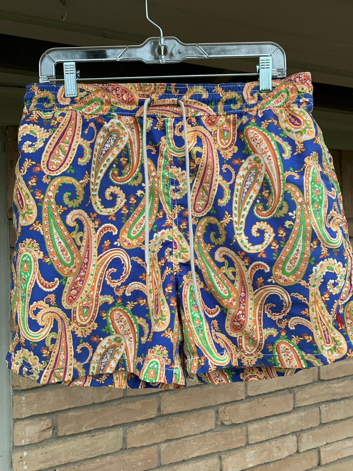Polo Ralph Lauren Swimwear Trunks Mens Medium bluee orange Green Paisley colorful