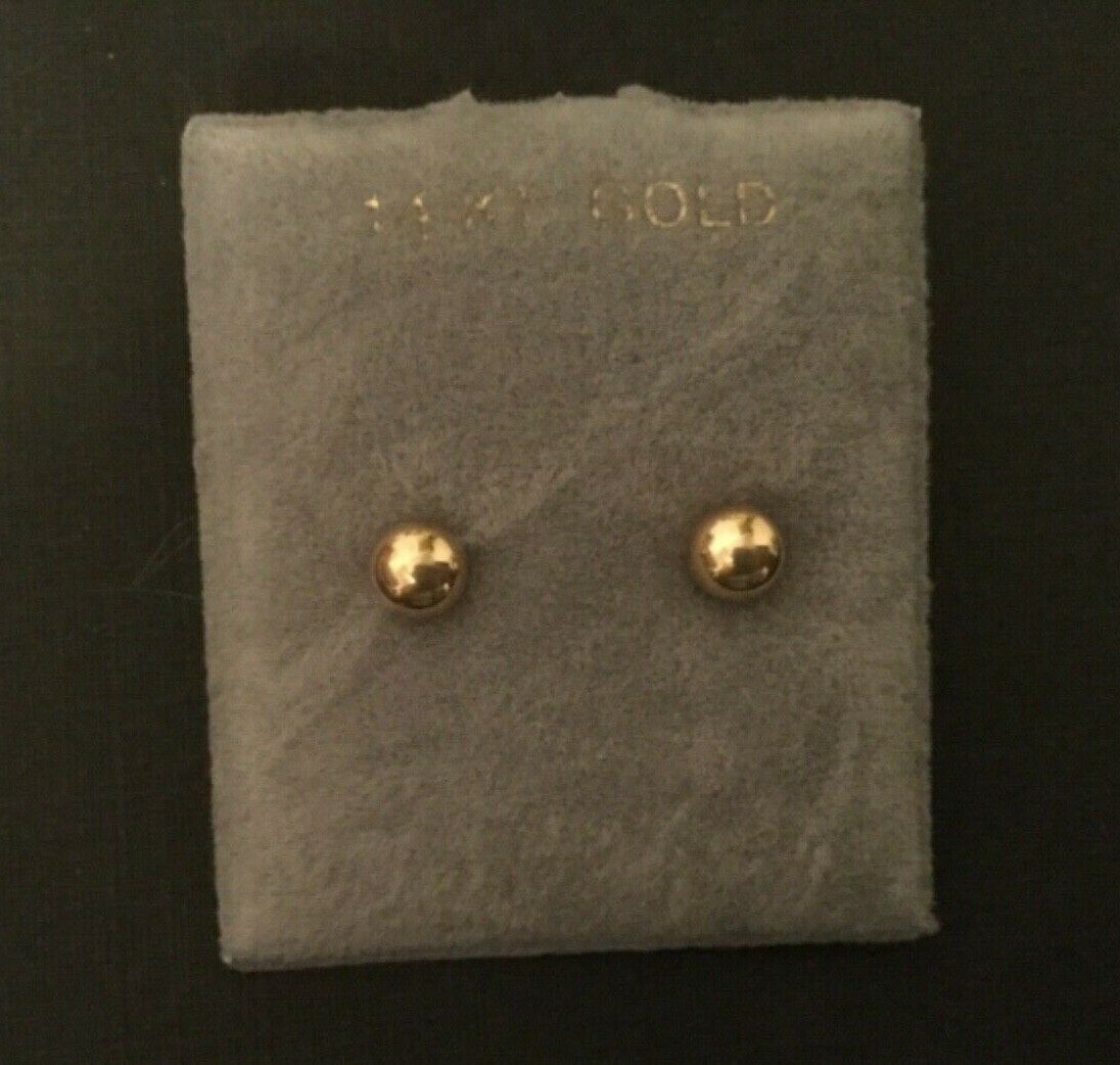 14k yellow gold ball earrings round stud 5mm new