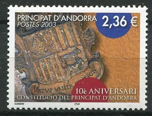 Stamps Andorra Intellective Timbre Andorre France Neuf N° 577 ** Anniversaire De La Constitution Armoiries