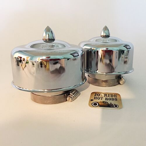 "Chrome 2 5//8/"" or 2 5//16/"" Neck Hot Rod 2 x 2BRL Air Cleaners Bullet Fasteners"