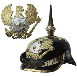 Prussian-German-Leather-Pickelhaube-Officer-Imperial-Ww1-Spiked-Bavarian-Helmet