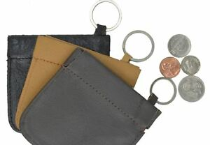 Black-Leather-Men-039-s-Squeeze-Open-Coin-Change-Holder-Front-Pocket-Key-Ring-Purse