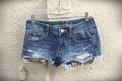 AMERICAN EAGLE Size 2/4 Exposed Gold Sequin Pockets Hot Mini Denim Short Shorts