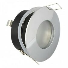 10X IP44 Frosted Round GU10 Bathroom Shower Downlight for Zone 2,3 Chrome Finish