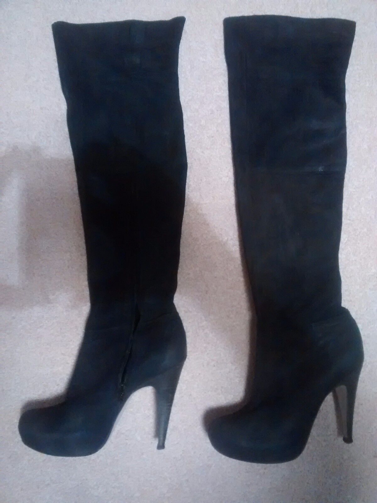 ICONIC 7 KNEE 40 TOPSHOP BLACK SUEDE LEATHER OVER THE KNEE 7 OTK THIGH Stiefel 3c50c2