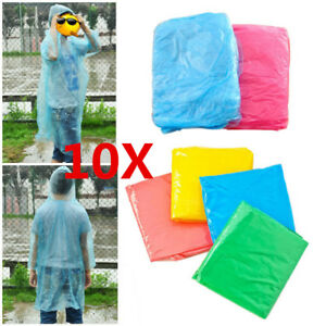 10PCS-Waterproof-Disposable-Raincoat-Poncho-Emergency-Outdoor-Hiking-Camping