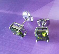 Square 7mm green peridot princess cut silver / WHITE GOLD gf stud earrings BOXED
