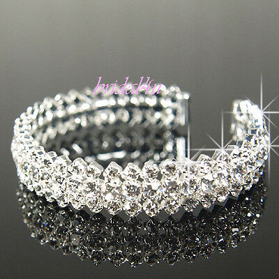 Prom Silver Plated made with Swarovski Crystal Bangle Bracelet Wedding Gift b206