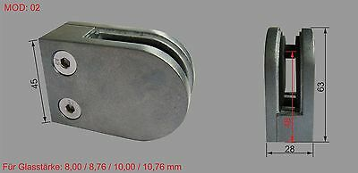 Zink Roh Glashalter V2A für Rohr 42,4 Glasklemme Zinkdruckguss Zinc Raw MOD:02