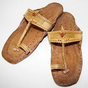 Sandalen-Indien-Schuhe-Natur-Leder-Jesuslatschen-Hippie-Goa-Retro-Vintage-C