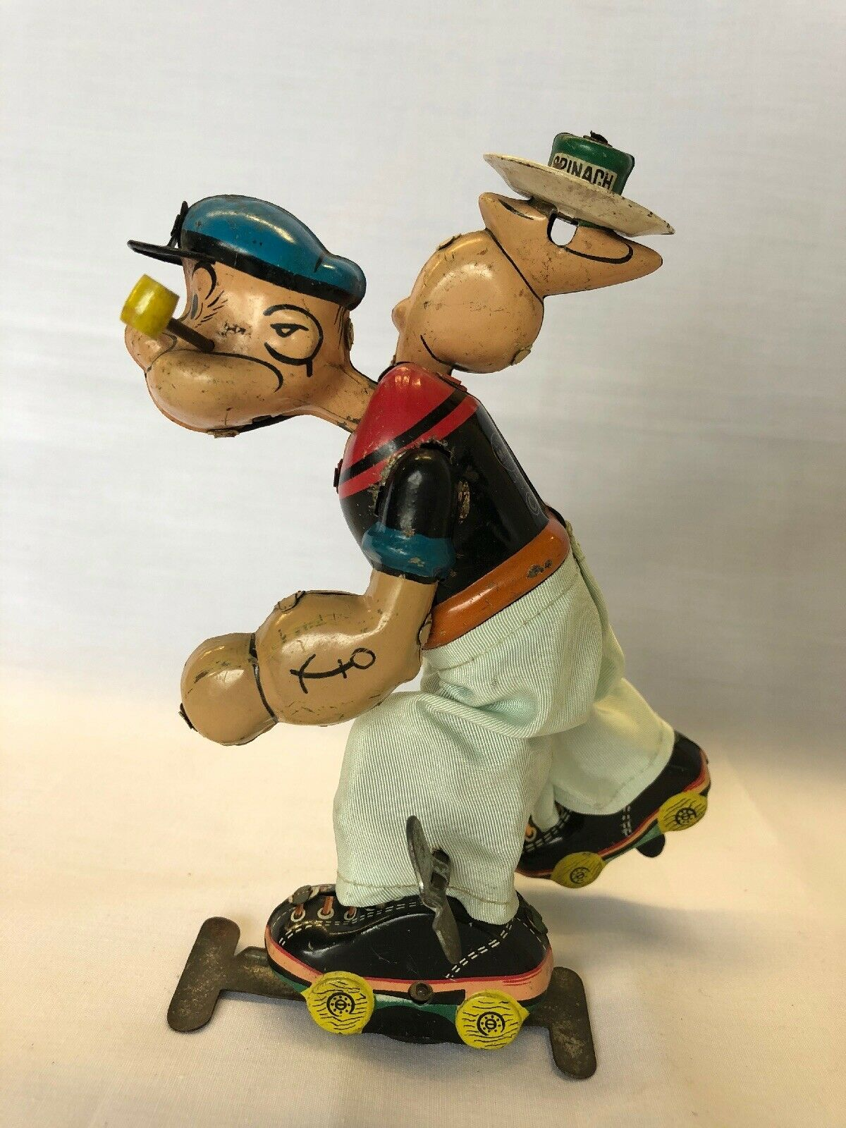 Linemar windup Popeye Roller Skating w    Plate & can of Spinach TinToy Japan 1957 ae2943