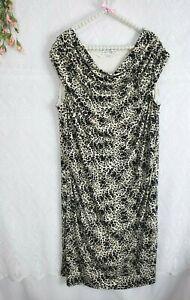 Womens-Size-2X-Sheath-Dress-Stretch-Leopard-Print-Larry-Levine-EUC-Ruched-Midi