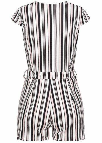 34/% OFF B18077904 Damen Violet Jumpsuit kurz Wickel Optik gestreift schwarz weiß